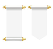 Realistic Template Blank White Paper Scroll Set. Vector