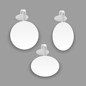 Realistic Template Blank White Round Advertising Wobbler Set. Vector