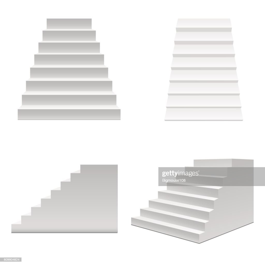 Realistic Template Blank White Staircase or Stairs Set. Vector