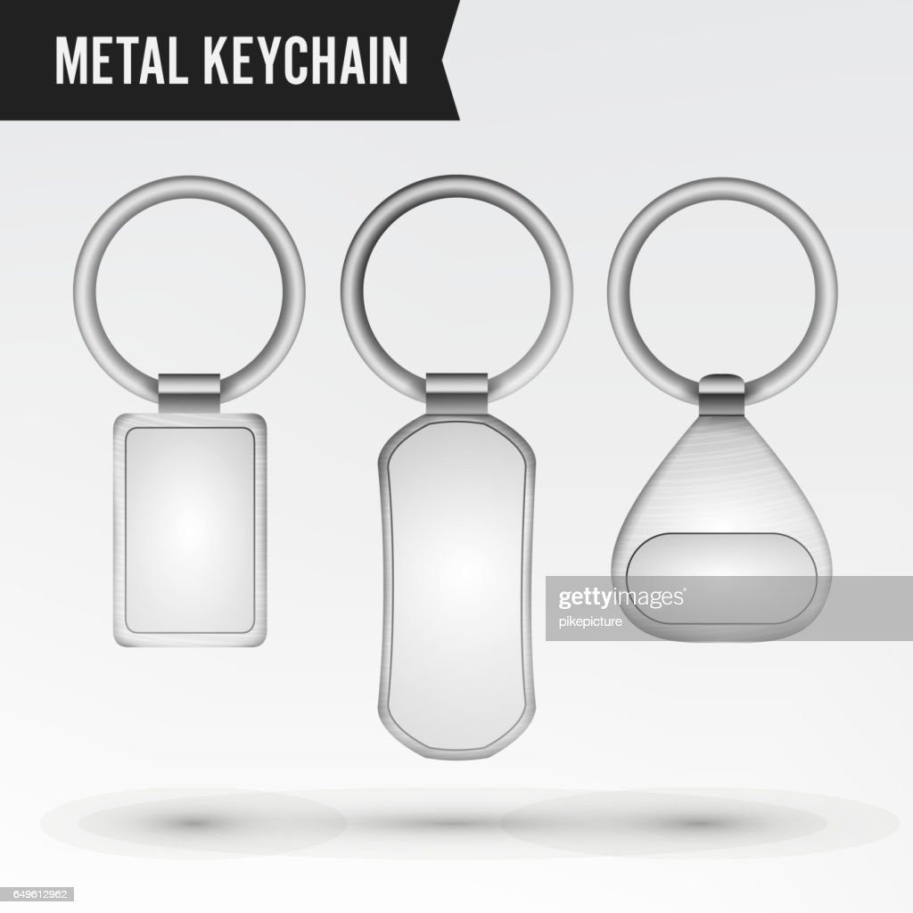 Realistic Template Metal Keychain Vector Set. 3d Key Chain With Ring For Key Isolated On White Background