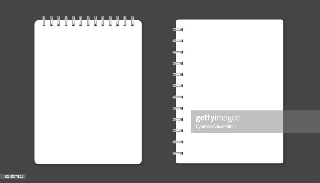 Realistic template notepad with spiral blank cover design school realistic template notepad with spiral blank cover design school business diary office stationery notebook on black background maxwellsz