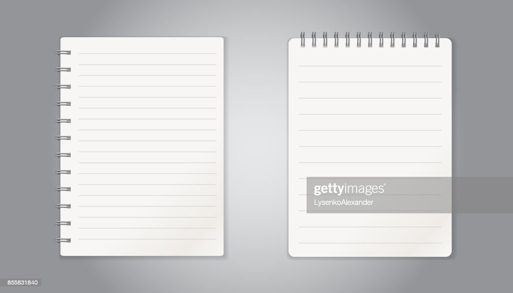 Realistic template notepad with spiral blank cover design school realistic template notepad with spiral blank cover design school business diary office stationery notebook on gray background accmission Choice Image