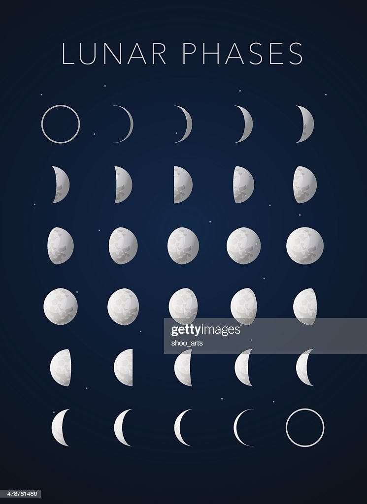 realistic textures Lunar phases, vector