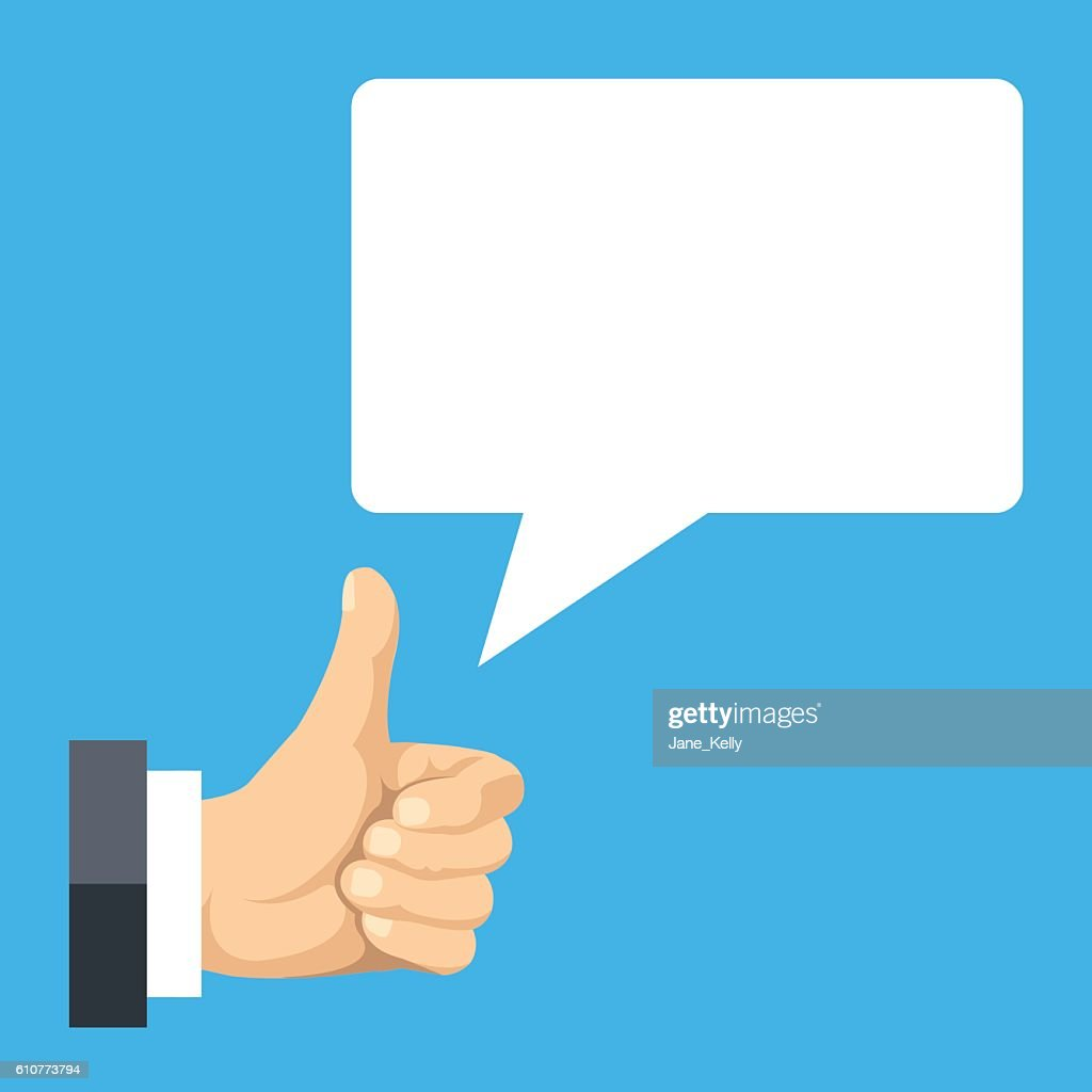 Realistic thumbs up and speech bubble. Flat design vector illustration