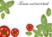 Realistic tomatoes and basil leaves. Good for web and print design. Vector