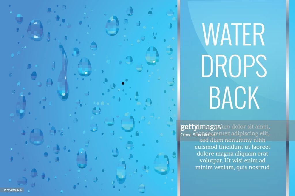 Realistic, transparent drops on a smooth surface or glass. Can be used with a different background. Vector illustration