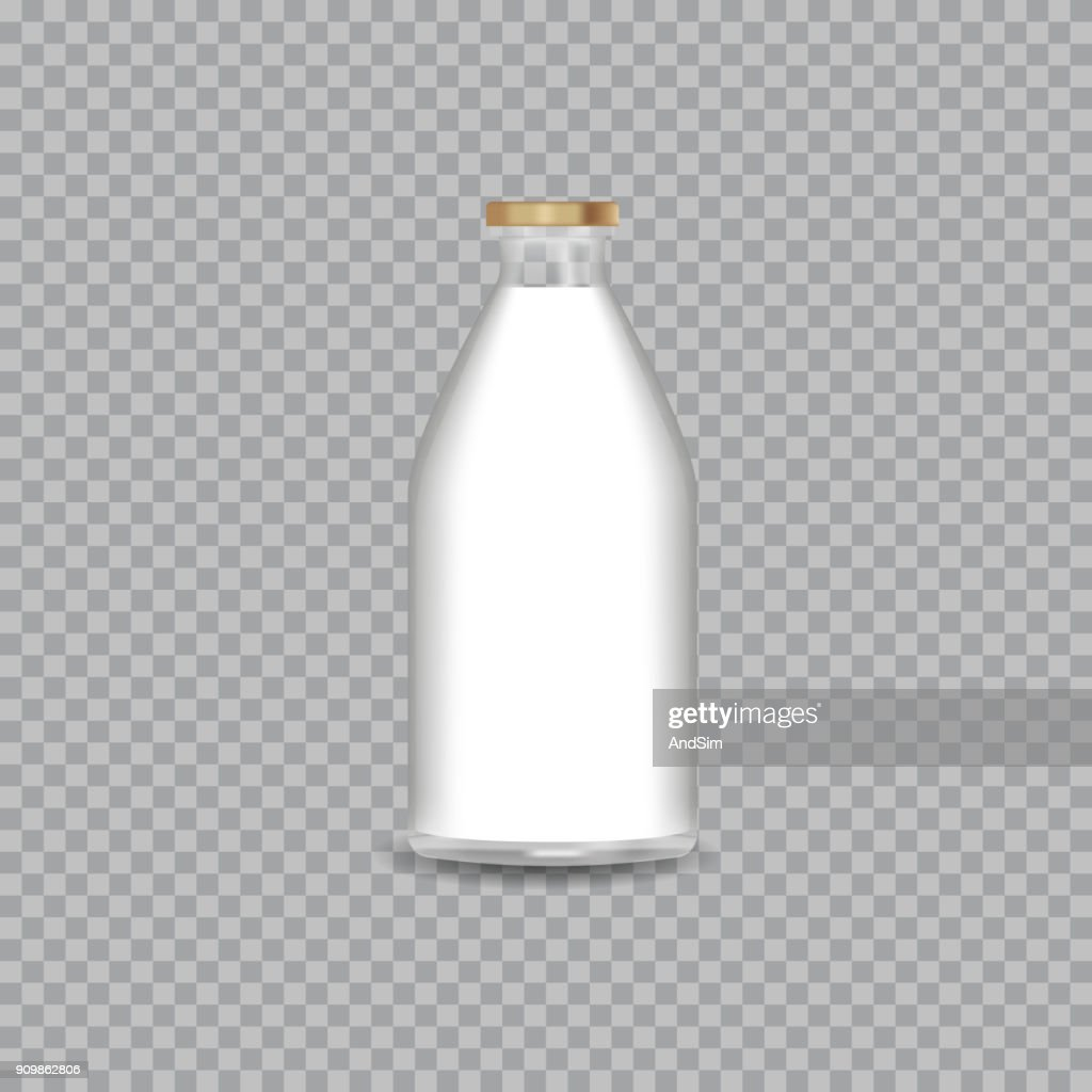 Realistic Transparent Glass Bottle with a Milk. Vector illustration.