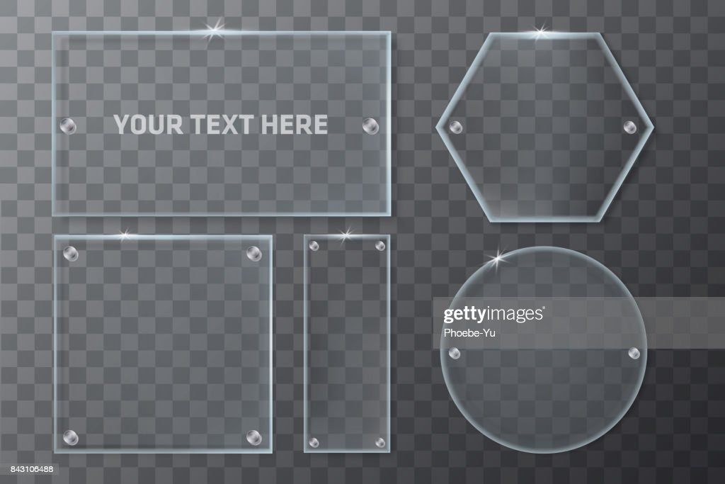 Realistic Transparent Glass Geometry Frames Template