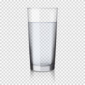 Realistic transparent glass with water, isolated.
