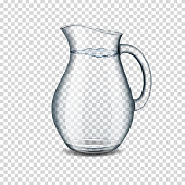 Realistic transparent jug with water, isolated.