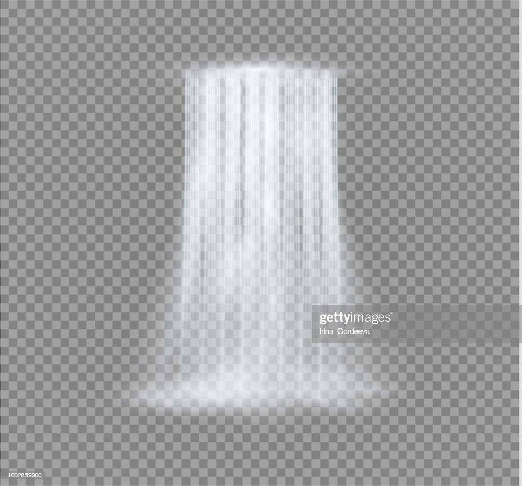 Realistic Transparent, Nature, stream of waterfall with clear water and bubbles isolated on transparent background. Natural element for design landscape image. Vector illustration
