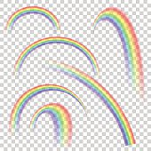 Realistic transparent rainbow set in different shapes. Vector background.