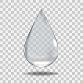 Realistic Transparent water drop. Useful with any background.