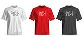 Realistic T-shirt white red black on white background vector illustration.