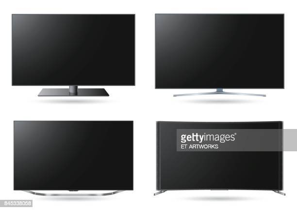 realistic tv screen set - high definition television television set stock illustrations