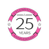 Realistic twenty five years anniversary celebration with ring and ribbon on white background. Vector template for your design