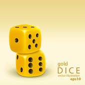 Realistic two gold dice stacked isolated on light yellow background