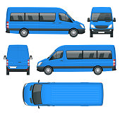 Realistic Van template in outline. Isolated passenger mini bus for corporate identity and advertising.