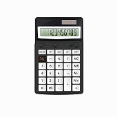 Realistic vector black calculator with white buttons isolated on white background.
