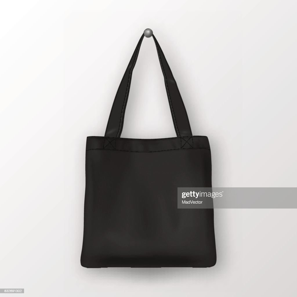 Realistic vector black empty textile tote bag. Closeup isolated on white background. Design template for branding, mockup. EPS10