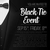 Realistic Vector Black Suit. Black Tie Event Invitation Template. Vector Mens Suit with Bow Tie