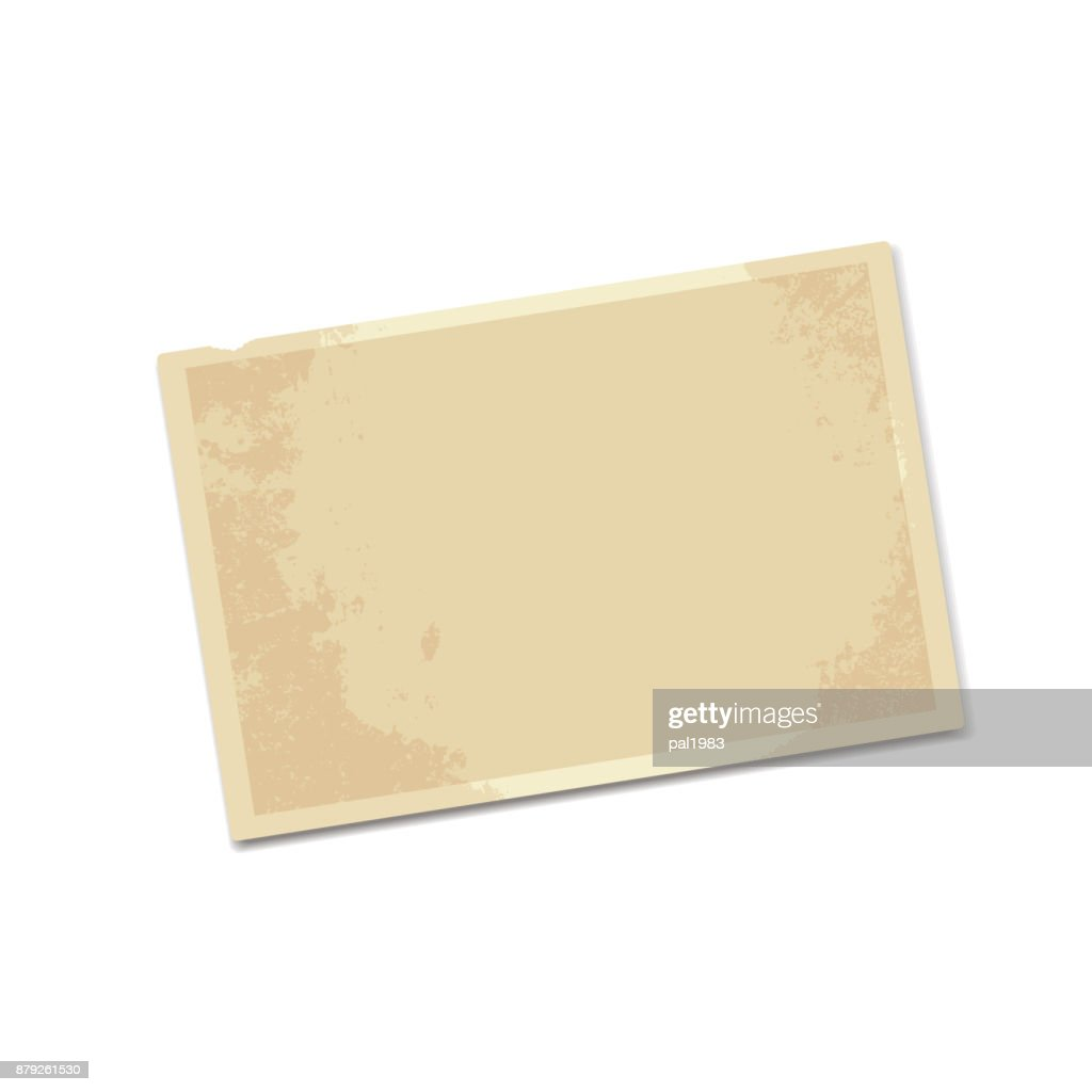realistic vector blank old yellowed photos isolated on white background for design