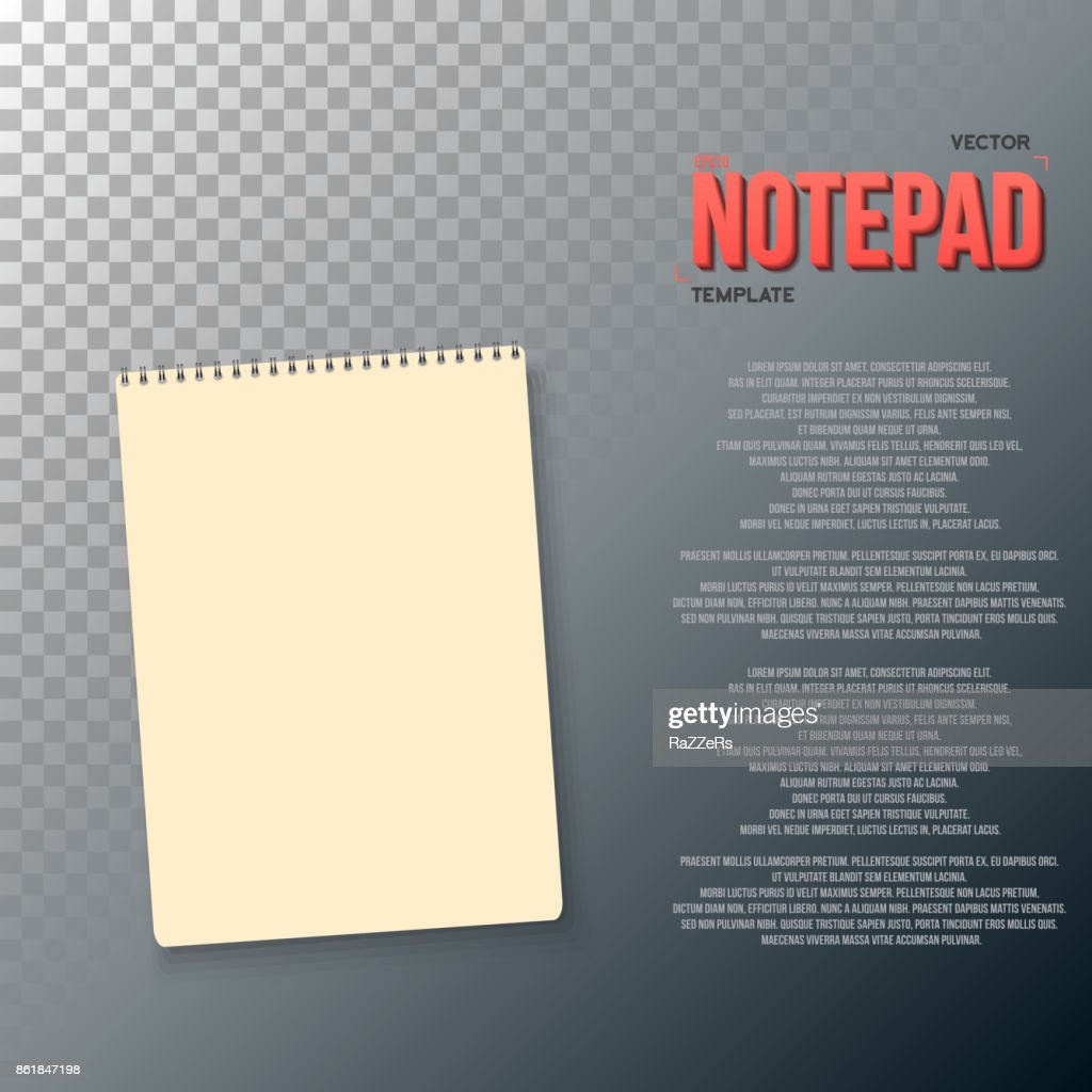 Realistic Vector Blank Textbook Icon Vector Notepad Template Vector