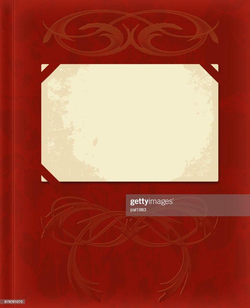 realistic vector Burgundy velvet cover, vintage photo album with ornament and inserted a blank old photos