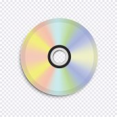 Realistic vector cd disk on transparent background