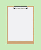 Realistic Vector Clipboard with Blank White Paper Leaf. Copyspace and Template