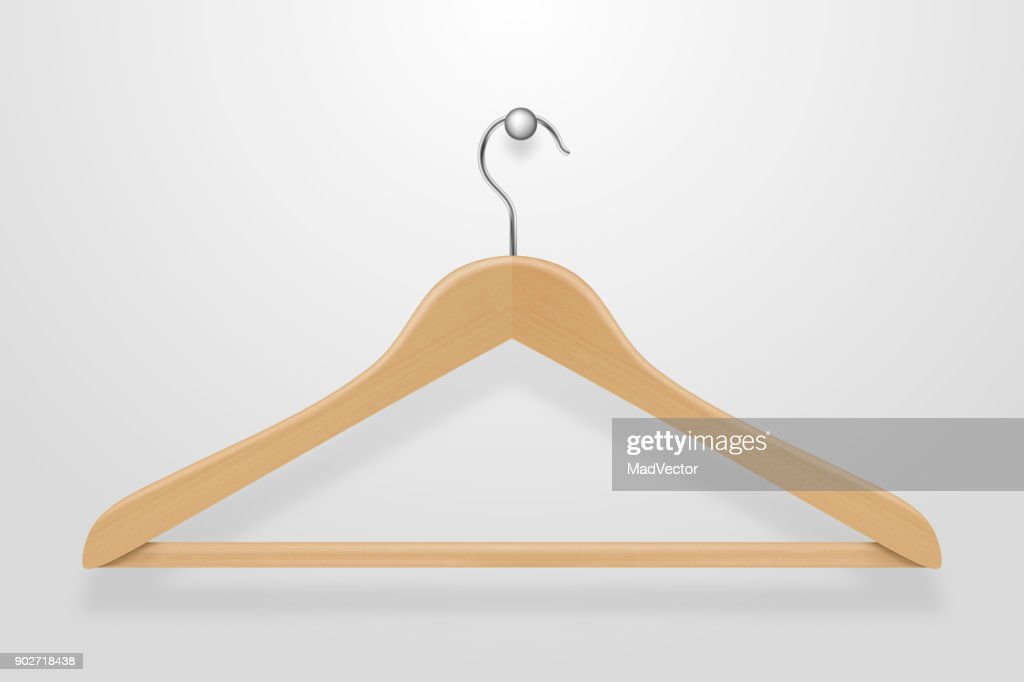 Realistic vector clothes coat wooden hanger close up isolated on white background. Design template, clipart or mockup for graphics, advertising etc