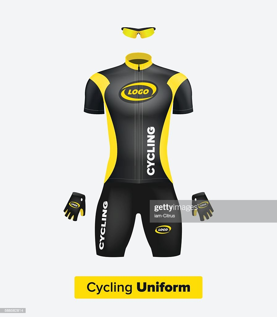 Realistic vector cycling uniform template. Black and yellow.