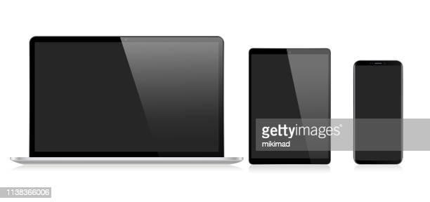 リアルなベクトルデジタルタブレット、携帯電話、スマートフォン、ラップトップ。最新のデジタルデバイス - タブレット端末点のイラスト素材/クリップアート素材/マンガ素材/アイコン素材