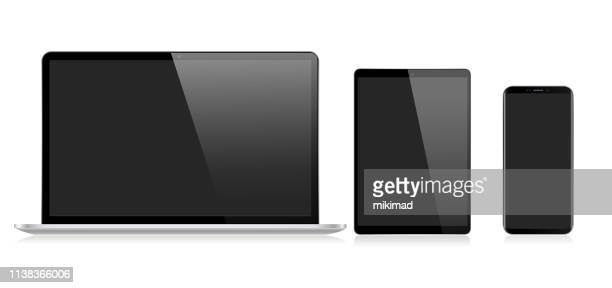 realistic vector digital tablet, mobile phone, smart phone and laptop. modern digital devices - digital tablet stock illustrations