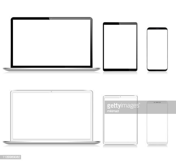 realistisches vector digital tablet, handy, smart phone und laptop. moderne digitale geräte. schwarz-weiß-farbe - ausrüstung und geräte stock-grafiken, -clipart, -cartoons und -symbole