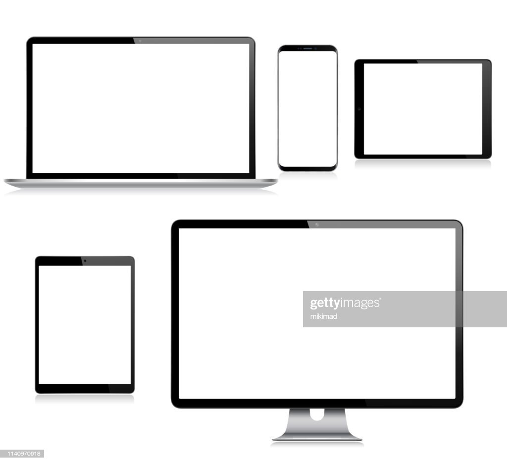 Tablet digitale vettoriale realistico, telefono cellulare, smartphone, laptop e monitor del computer. Dispositivi digitali moderni : Illustrazione stock