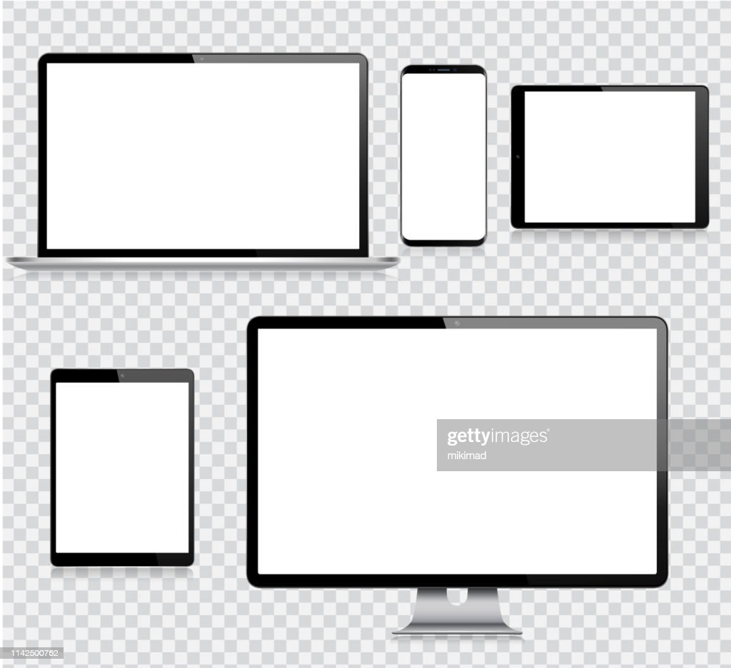 Realistic Vector Digital Tablet, Mobile Phone, Smart Phone, Laptop and Computer Monitor. Modern Digital Devices : Stock Illustration