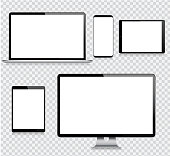 Realistic Vector Digital Tablet, Mobile Phone, Smart Phone, Laptop and Computer Monitor. Modern Digital Devices