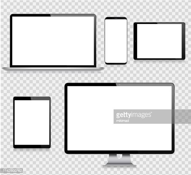 ilustrações, clipart, desenhos animados e ícones de tabuleta realística de digitas do vetor, telefone móvel, telefone esperto, portátil e monitor do computador. dispositivos digitais modernos - {{ contactusnotification.cta }}