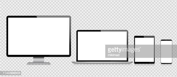 stockillustraties, clipart, cartoons en iconen met realistische vector digitale tablet, mobiele telefoon, slimme telefoon, laptop en computer monitor. moderne digitale apparaten - tablet pc