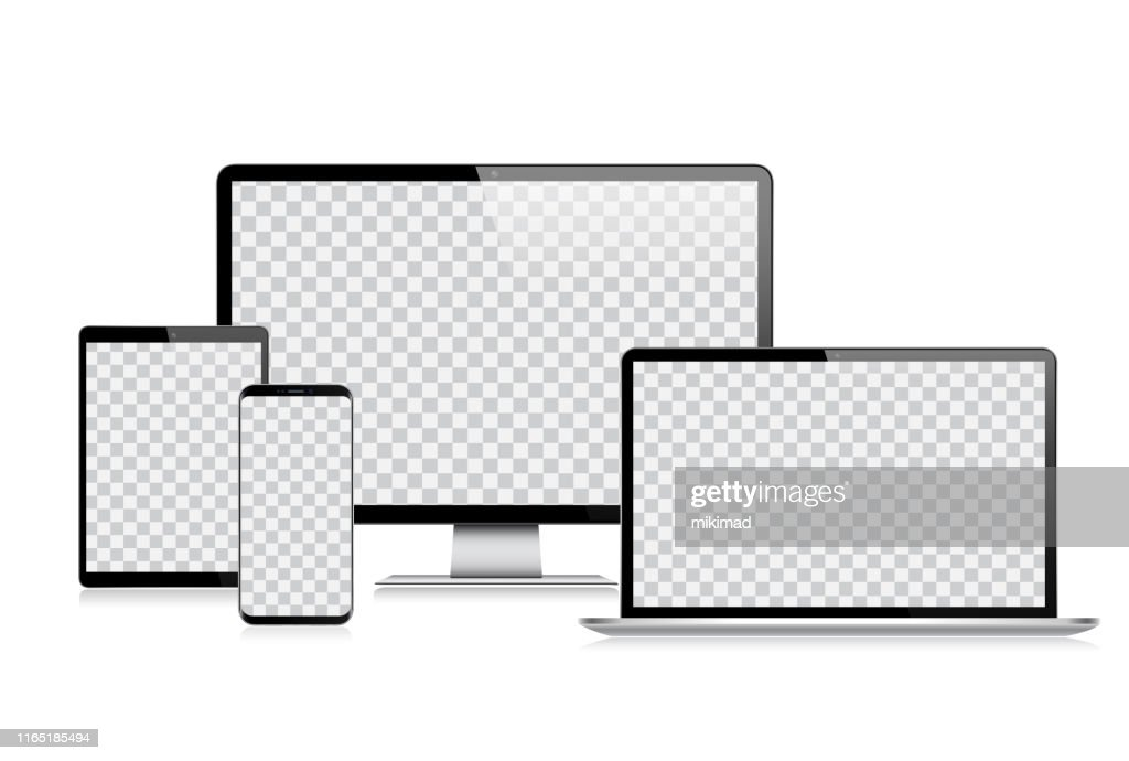 Realistische vector digitale Tablet, mobiele telefoon, Smart Phone, laptop en computer monitor. Moderne digitale apparaten : Stockillustraties