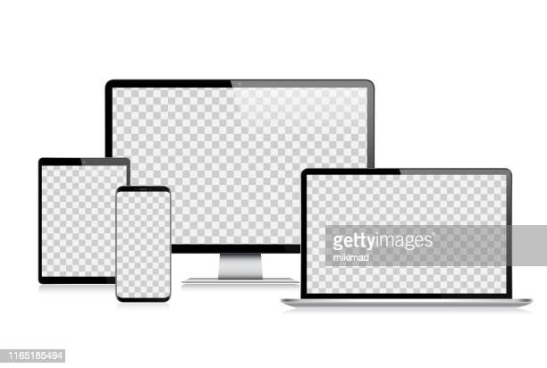 realistic vector digital tablet, mobile phone, smart phone, laptop and computer monitor. modern digital devices - mobília stock illustrations