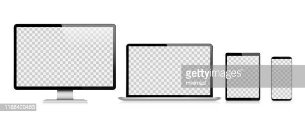 realistic vector digital tablet, mobile phone, smart phone, laptop and computer monitor. modern digital devices - device screen stock illustrations