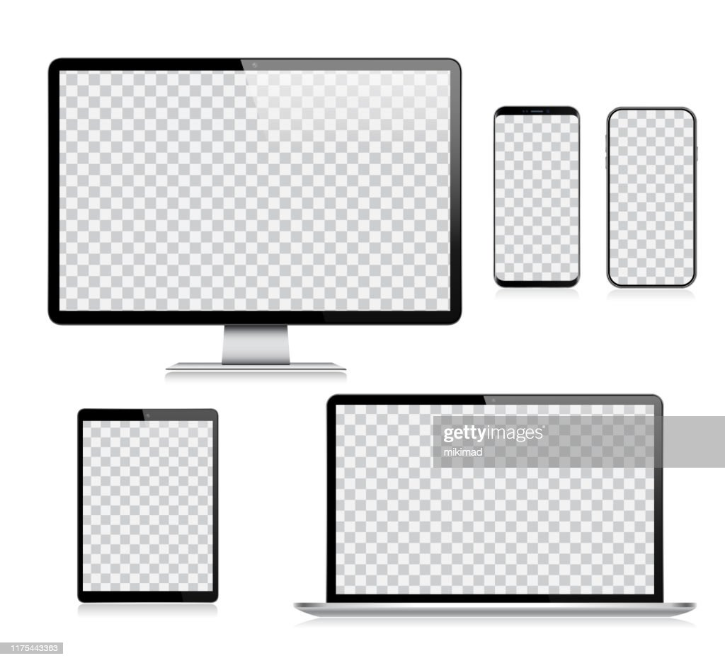 Realistische vector digitale Tablet, mobiele telefoon, Smart Phone, laptop en computer monitor. Moderne digitale apparaten : Stockillustraties