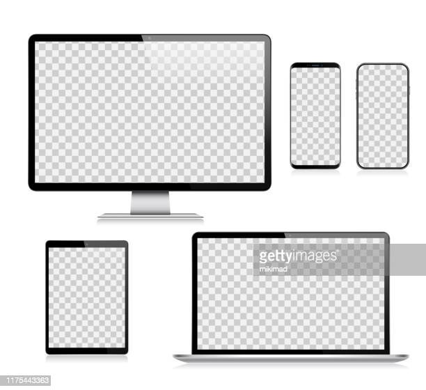 stockillustraties, clipart, cartoons en iconen met realistische vector digitale tablet, mobiele telefoon, smart phone, laptop en computer monitor. moderne digitale apparaten - beeldscherm