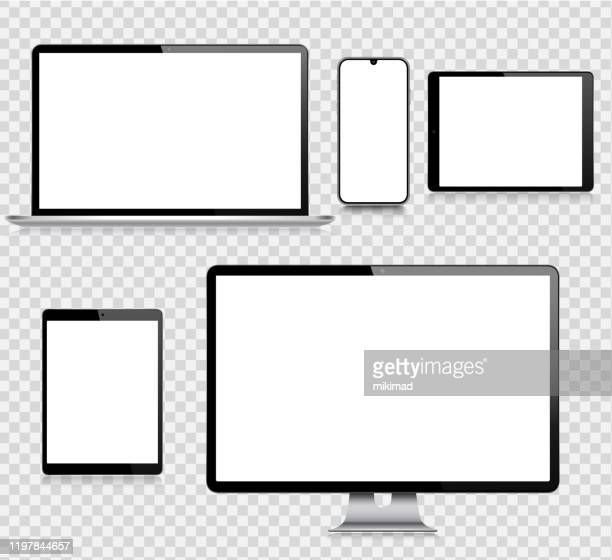 illustrations, cliparts, dessins animés et icônes de tablette numérique vectorielle réaliste, téléphone mobile, téléphone intelligent, ordinateur portable et moniteur d'ordinateur. appareils numériques modernes - écran
