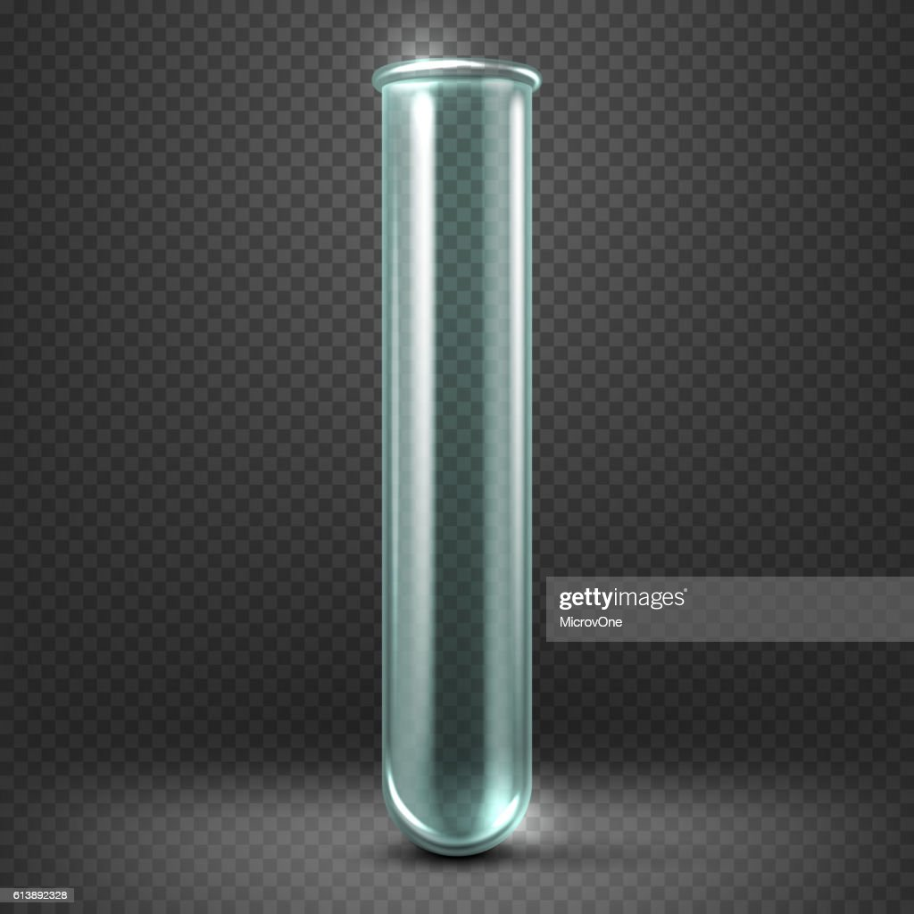 Realistic vector empty glass test tube template isolated on transparent