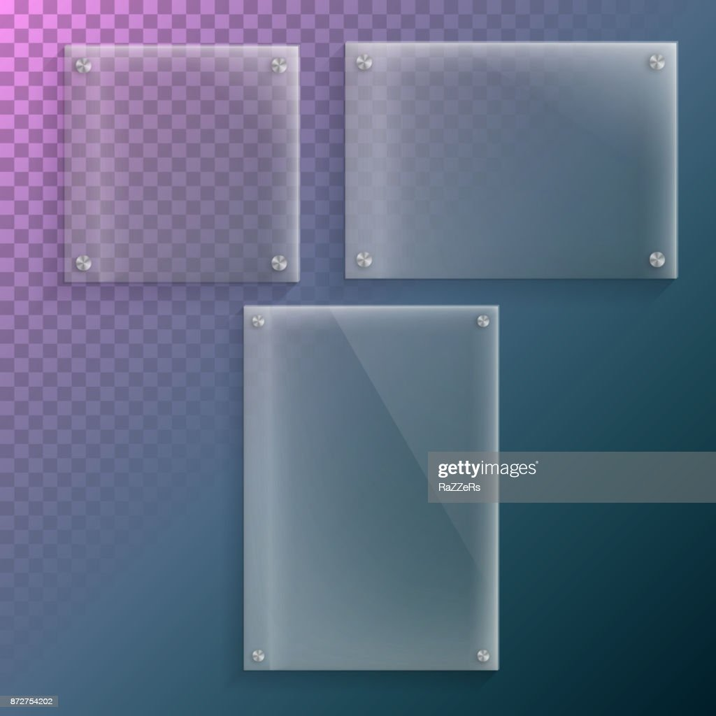Realistic Vector Glass Plate Mockup Set