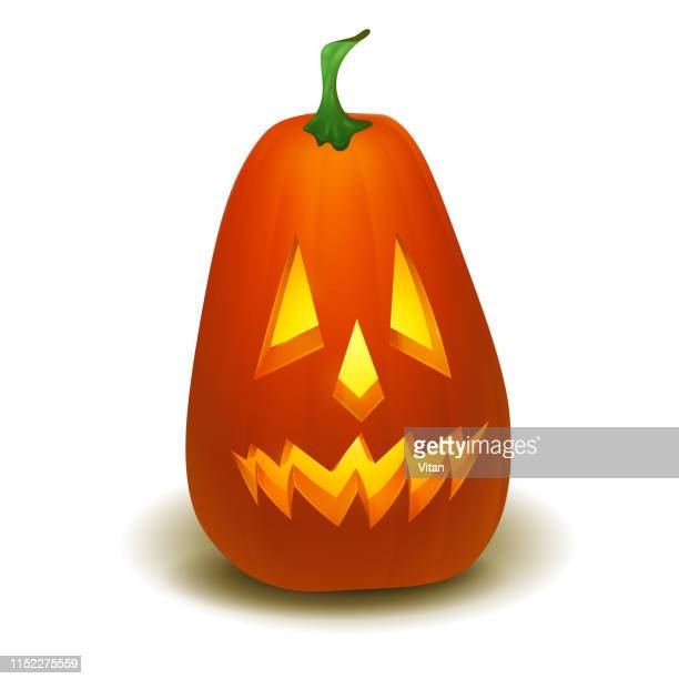 realistic vector halloween pumpkin with candle inside. happy face halloween pumpkin isolated on white background. - infamous stock illustrations, clip art, cartoons, & icons