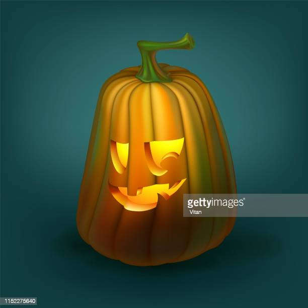realistic vector halloween pumpkin with candle inside. happy face halloween pumpkin isolated on green blue background. - infamous stock illustrations, clip art, cartoons, & icons